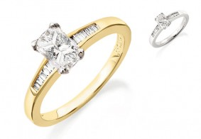 Phoenix Cut™ diamond ring set with baguette shoulder diamonds