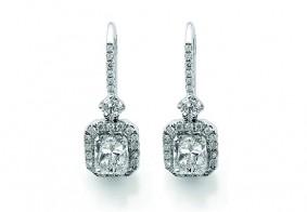 Phoenix Cut™ single row pave set brilliant cut diamond drop earrings
