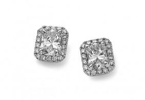 Phoenix Cut™ single row pave set brilliant cut stud earrings
