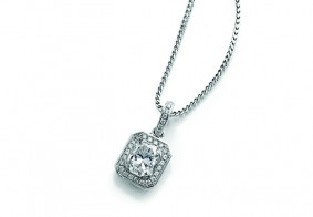 Phoenix Cut™ single row pave set brilliant drop pendant with chain