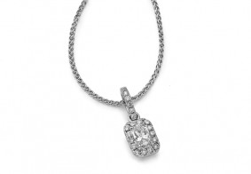 Single row pave set brilliant pendant with chain