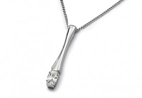 Phoenix Cut™ single stone drop pendant with chain