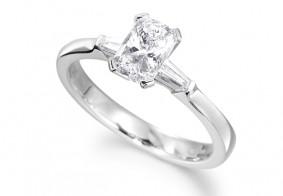 Phoenix Cut™ diamond ring set with tapered baguette shoulder diamonds