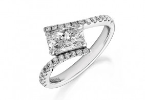 Phoenix Cut™ set on a twist with brilliant cut diamond shoulder ring