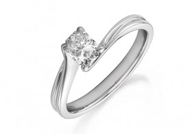 Phoenix Cut™ single stone with curved shoulders ring