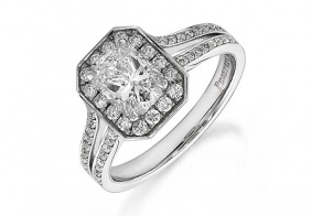 Phoenix Cut™ ring surrounded with pave set brilliant diamonds and split shoulders
