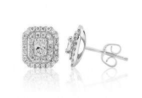 Phoenix Cut™ double diamond halo stud earrings