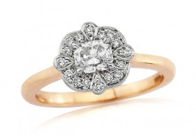 Phoenix Cut™ diamond set east to west in a Petal design