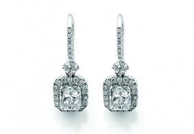 Phoenix Cut™ single row pave set brilliant cut diamond drop earrings