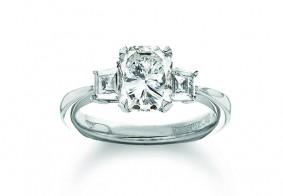 Phoenix Cut™ set with step cut diamond shoulders